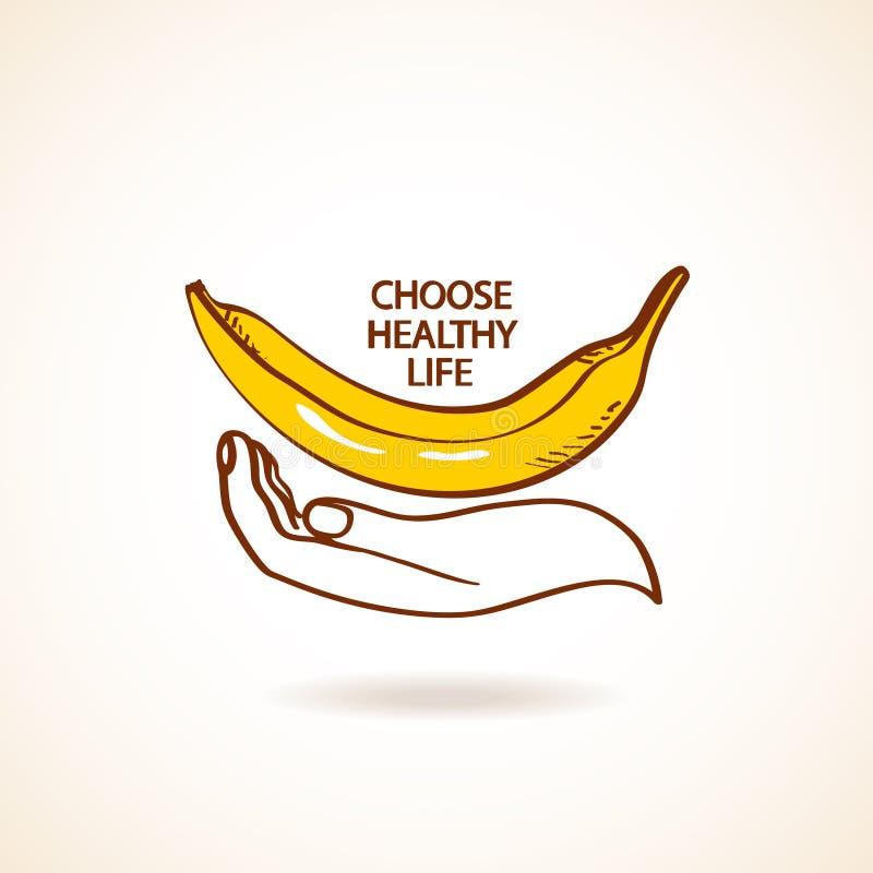 Ejemplo de la mano humana que celebra el plátano stock de ilustración