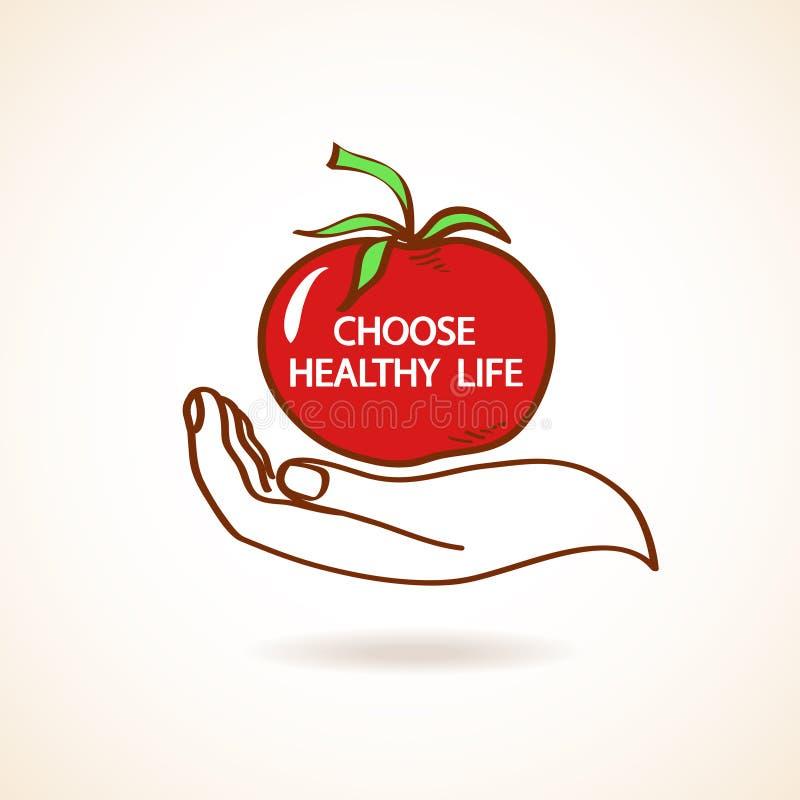Ejemplo de la mano humana que celebra el tomate libre illustration