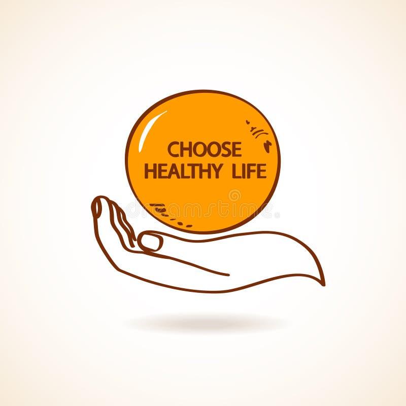 Ejemplo de la mano humana que celebra la naranja ilustración del vector