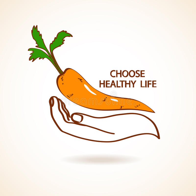 Ejemplo de la mano humana que celebra la zanahoria ilustración del vector