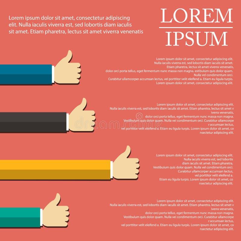 Ejemplo de la mano infographic en diseño plano en fondo ilustración del vector