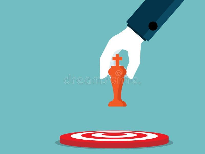 Ejemplo de la mano que celebra ajedrez y el lugar a la diana ilustración del vector