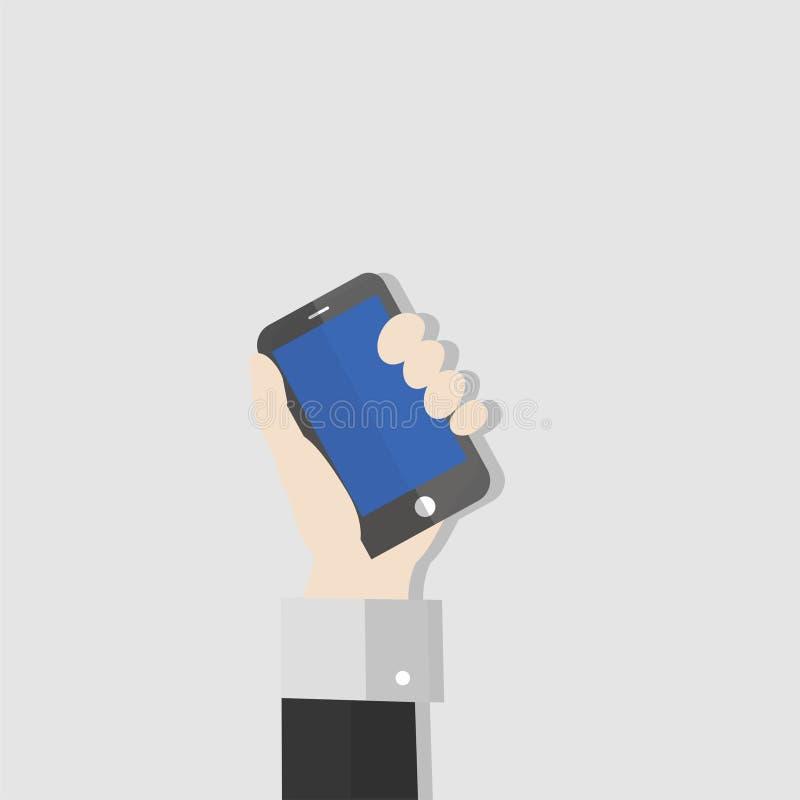 Ejemplo de la mano que celebra el teléfono ilustración del vector