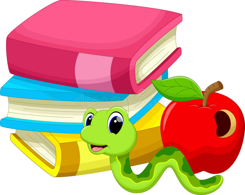 Ejemplo de la manzana y del gusano de los libros ilustración del vector
