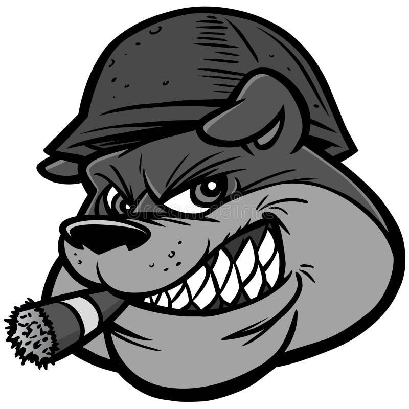 Ejemplo de la mascota del ejército del dogo stock de ilustración