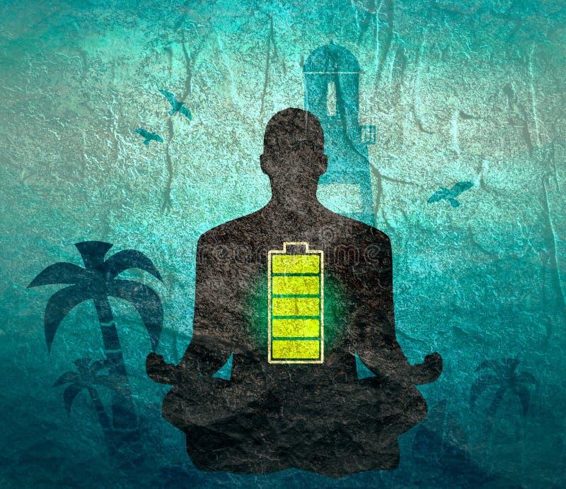 Ejemplo de la meditaci?n del hombre de negocios stock de ilustración