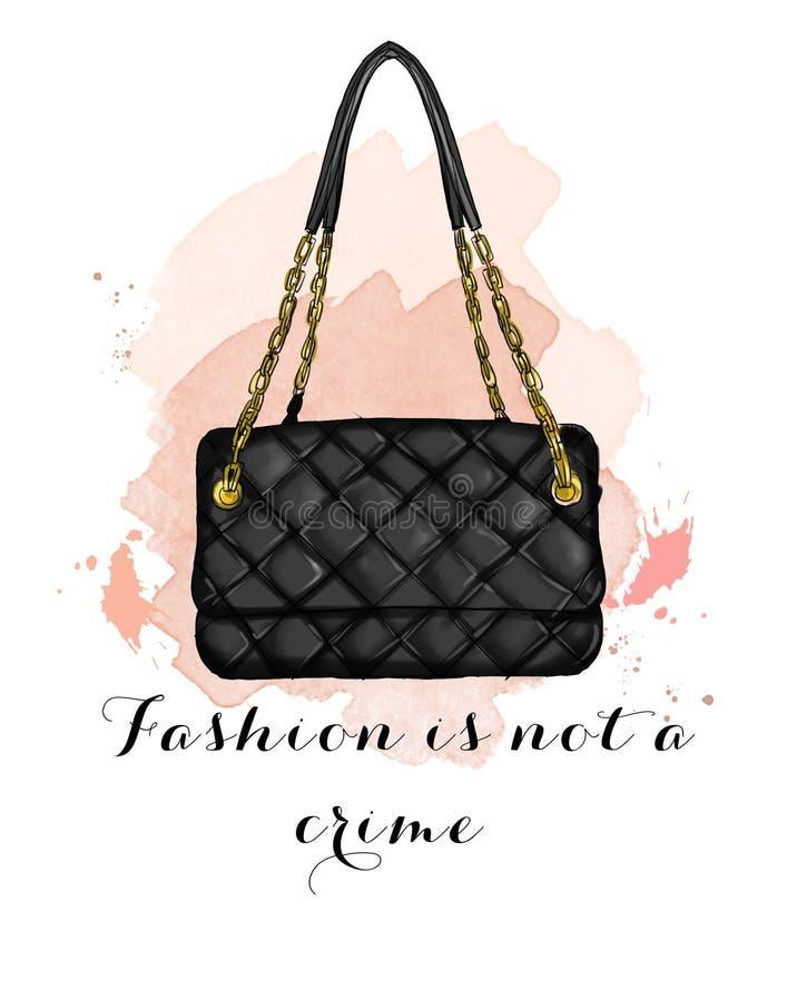 Ejemplo de la moda con el bolso del negro del edredón stock de ilustración