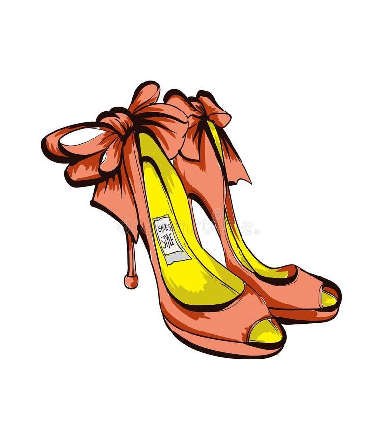 Ejemplo de la moda con los zapatos femeninos elegantes libre illustration