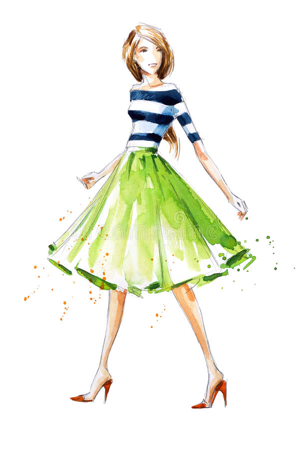 Ejemplo de la moda de la acuarela, pintado a mano libre illustration