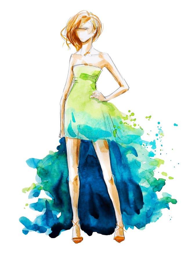 Ejemplo de la moda de la acuarela, pintado a mano stock de ilustración