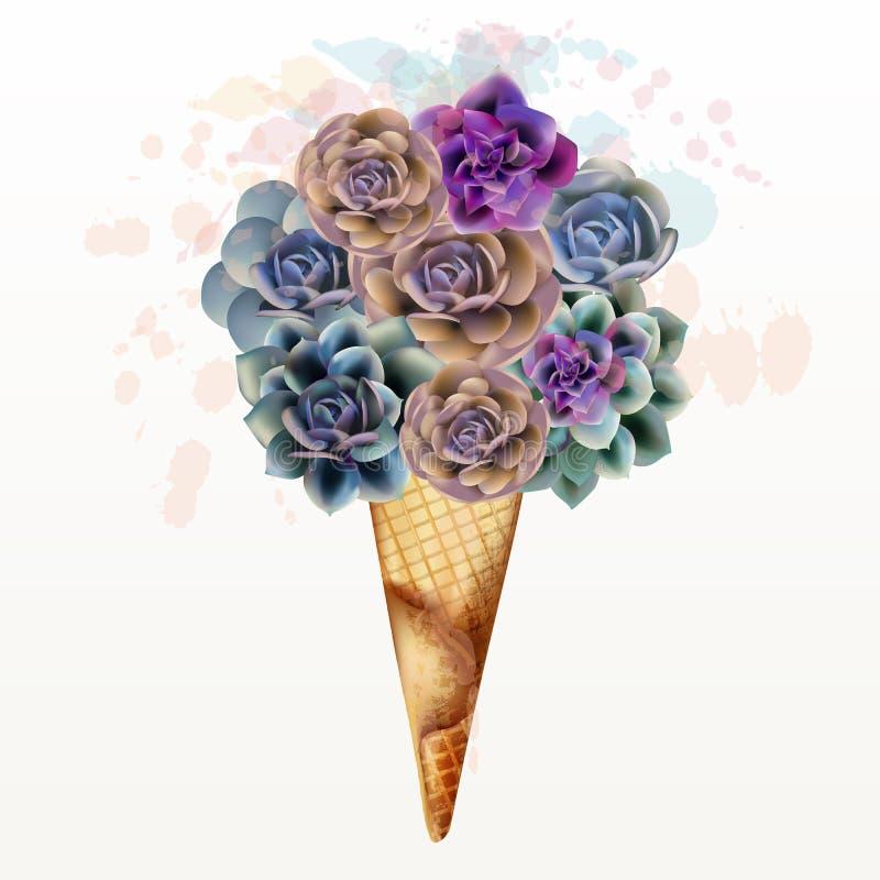 Ejemplo de la moda, impresión de la camiseta con helado creativo de succulents ilustración del vector