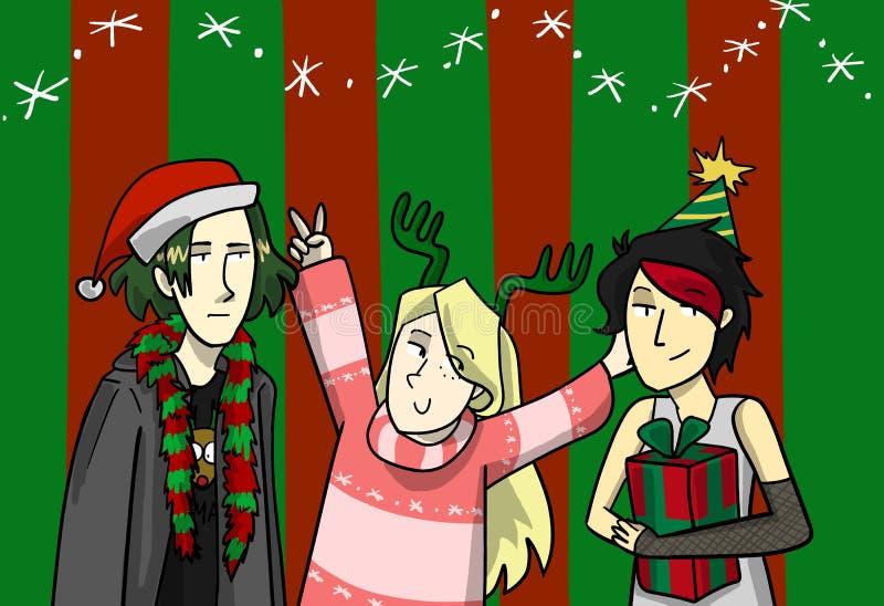Ejemplo de la moda de la Navidad para la postal libre illustration