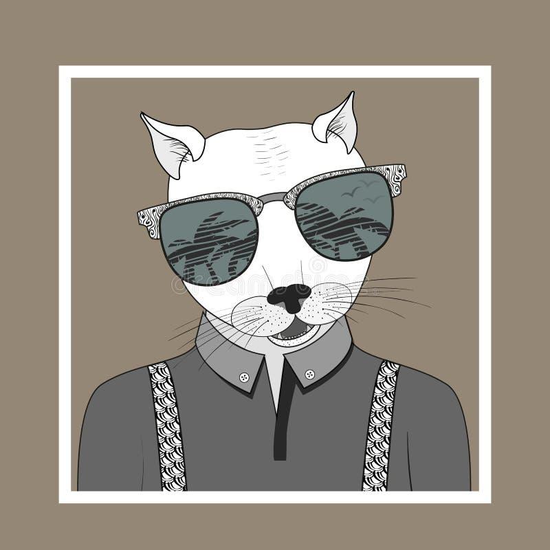 Ejemplo de la moda para arriba vestido del gato stock de ilustración