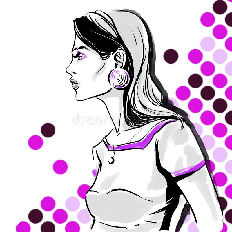 Ejemplo de la moda de la trama de la muchacha gráfico del dibujo de la mano libre illustration