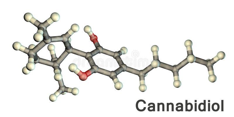 Ejemplo de la molécula de Cannabidiol stock de ilustración