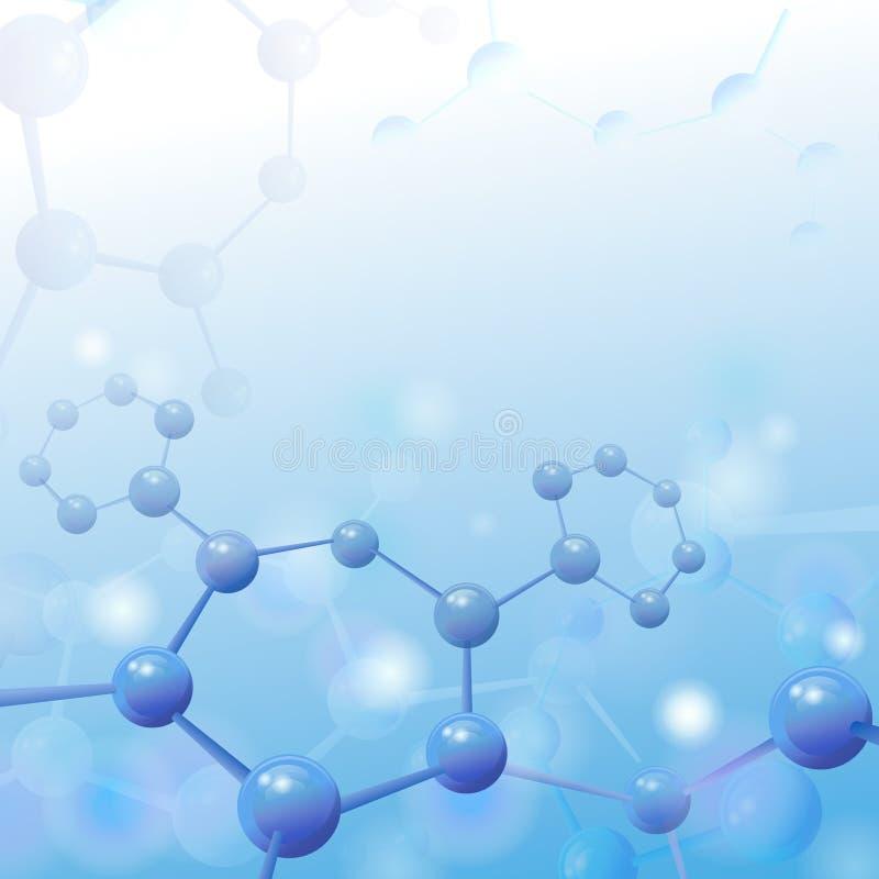 Ejemplo de la molécula sobre fondo azul con libre illustration