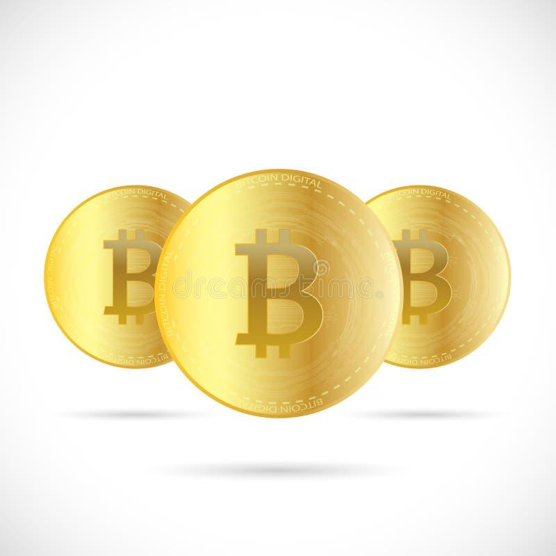 Ejemplo de la moneda de Bitcoins ilustración del vector