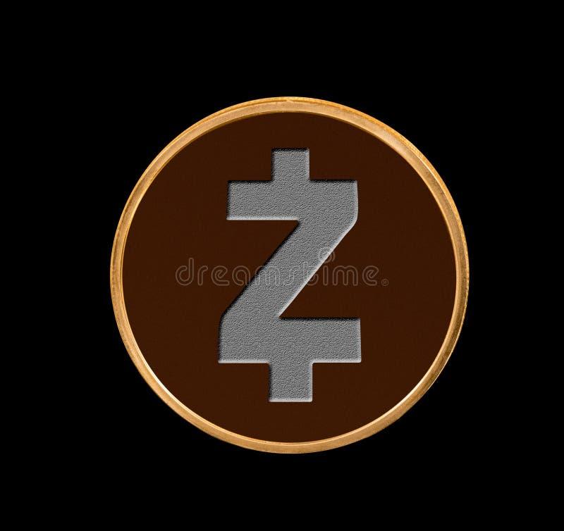 Ejemplo de la moneda de Zcash con el fondo negro fotos de archivo libres de regalías