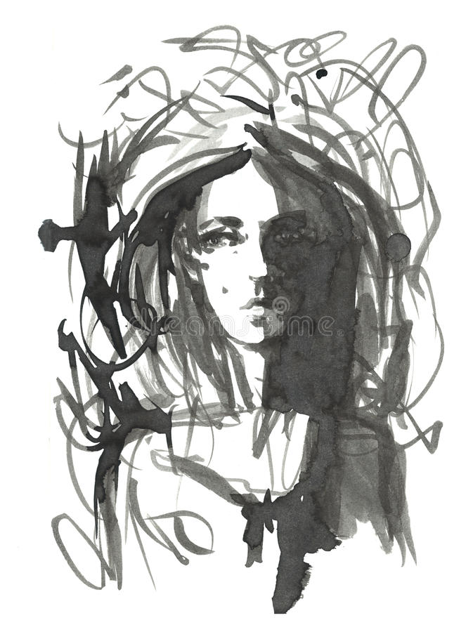 Ejemplo de la muchacha de la moda Dé el retrato exhausto de una cara del modelo de la mujer joven bosquejo, marcador, acuarela stock de ilustración