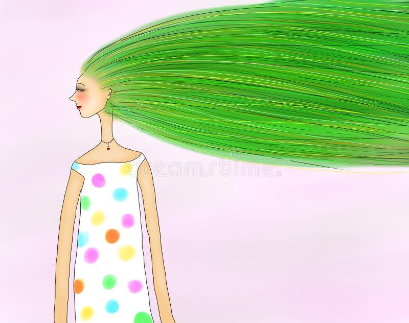 Ejemplo de la muchacha de la primavera stock de ilustración