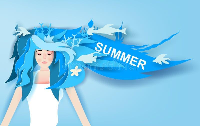 Ejemplo de la muchacha hermosa con viaje largo del verano del desgaste del pelo con la decoración azul profunda de la vida marina stock de ilustración