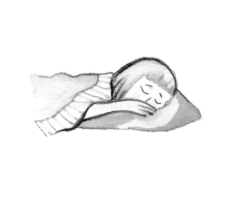 Ejemplo de la muchacha linda aislada que duerme en cama en blanco libre illustration