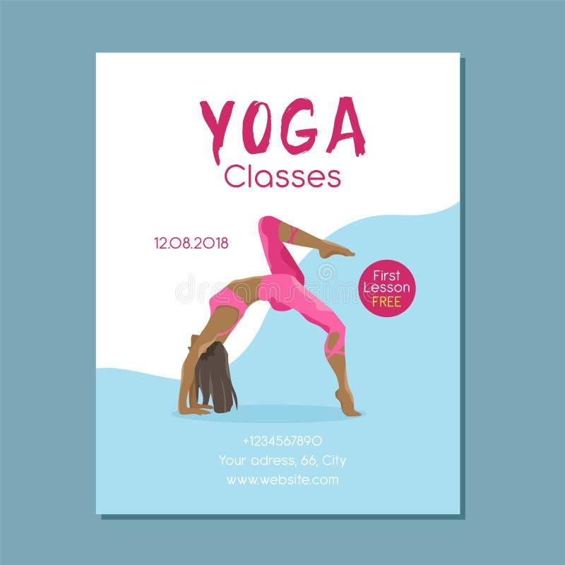 Ejemplo de la muchacha de la yoga en actitud Folleto moderno del vector stock de ilustración
