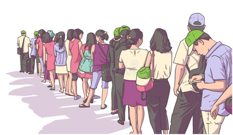 Ejemplo de la muchedumbre de gente que se coloca en línea en perspectiva stock de ilustración