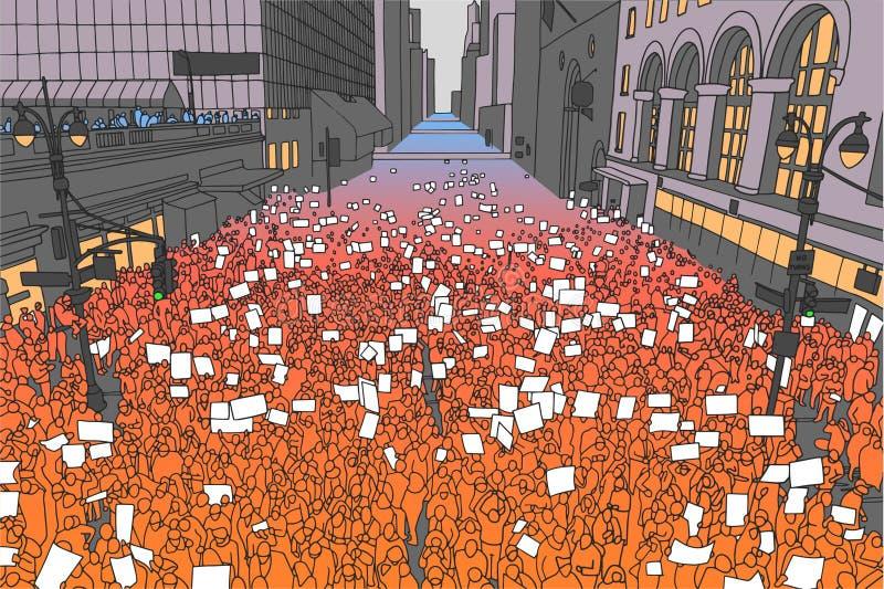 Ejemplo de la muchedumbre masiva que protesta para los derechos humanos con las muestras en blanco ilustración del vector