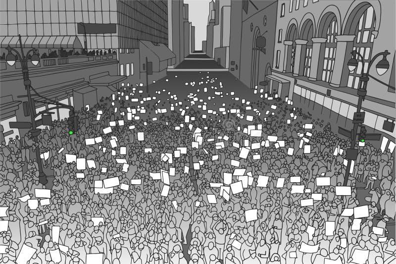 Ejemplo de la muchedumbre masiva que protesta para los derechos humanos con las muestras en blanco stock de ilustración