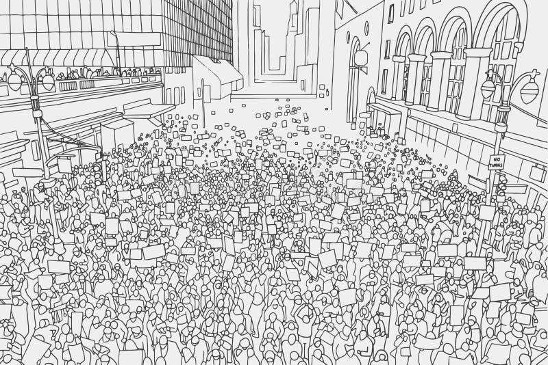 Ejemplo de la muchedumbre masiva que protesta para los derechos humanos con las muestras en blanco libre illustration