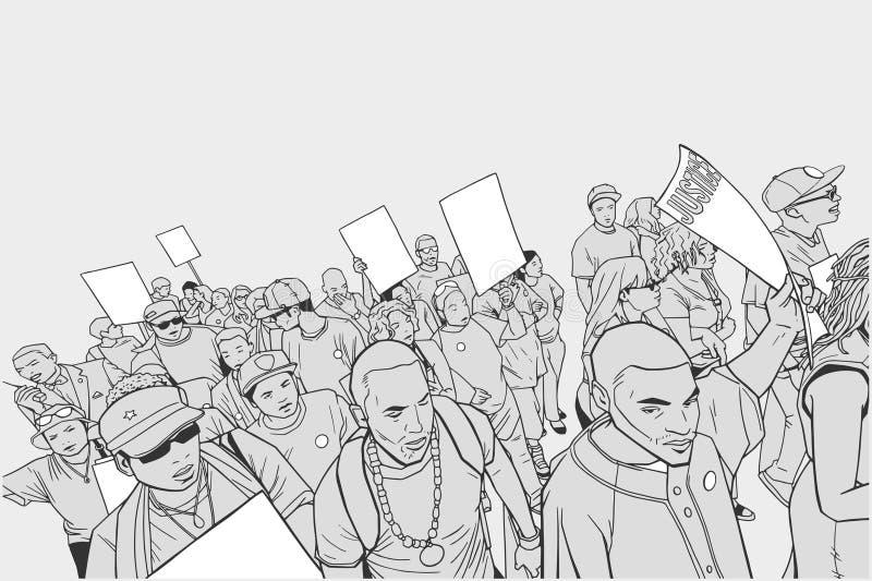 Ejemplo de la muchedumbre que protesta contra brutalidad policial, con las muestras en blanco ilustración del vector