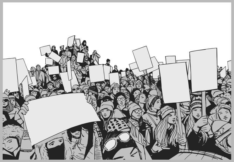 Ejemplo de la muchedumbre que protesta para los derechos humanos con las muestras en blanco libre illustration