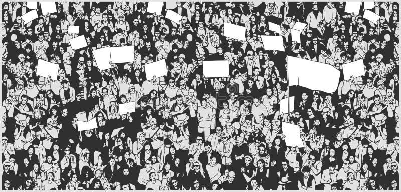 Ejemplo de la muchedumbre que protesta para los derechos humanos con las muestras y la bandera en blanco stock de ilustración