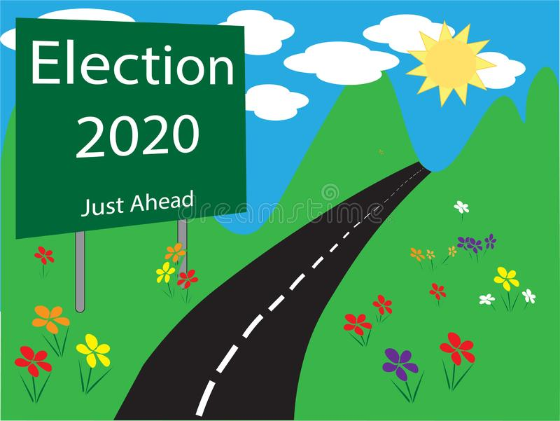 Ejemplo 2020 de la muestra del borde de la carretera de la elección stock de ilustración
