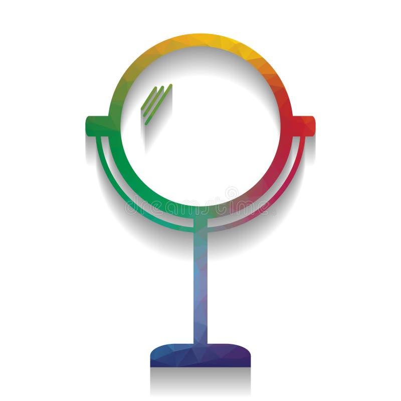 Ejemplo de la muestra del espejo Vector Icono colorido con el texto brillante libre illustration