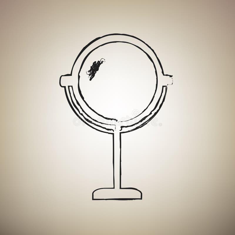 Ejemplo de la muestra del espejo Vector Icono negro drawed cepillo en el lig ilustración del vector