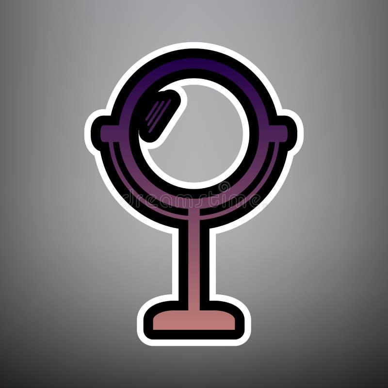 Ejemplo de la muestra del espejo Vector Icono violeta de la pendiente con el blac stock de ilustración