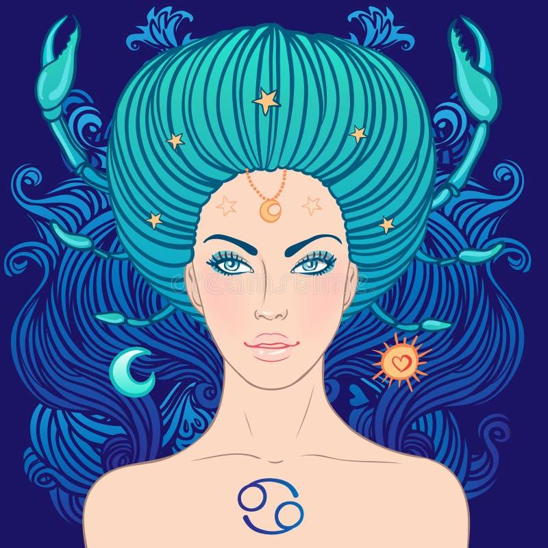 Ejemplo de la muestra del zodiaco del cáncer como muchacha hermosa libre illustration