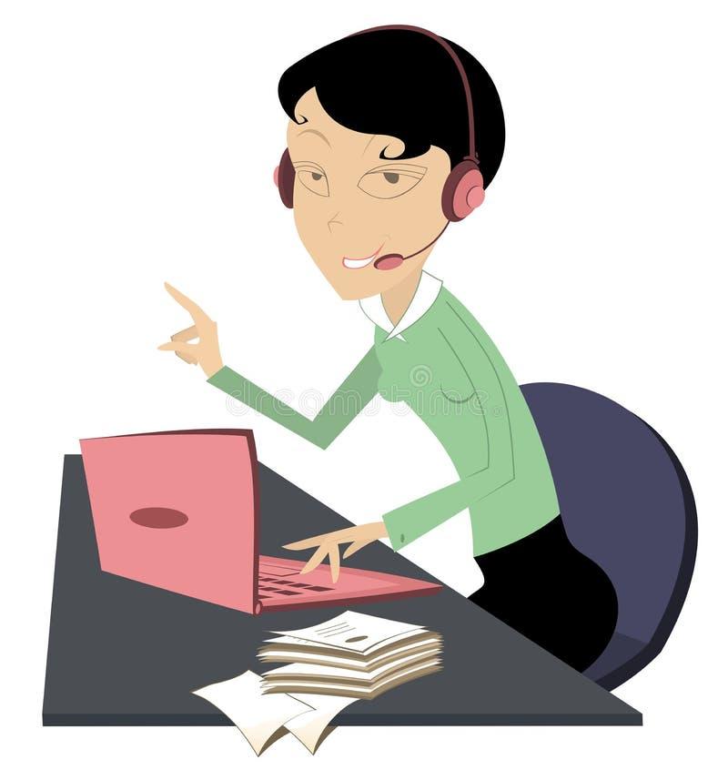 Ejemplo de la mujer del centro de atención telefónica aislado libre illustration