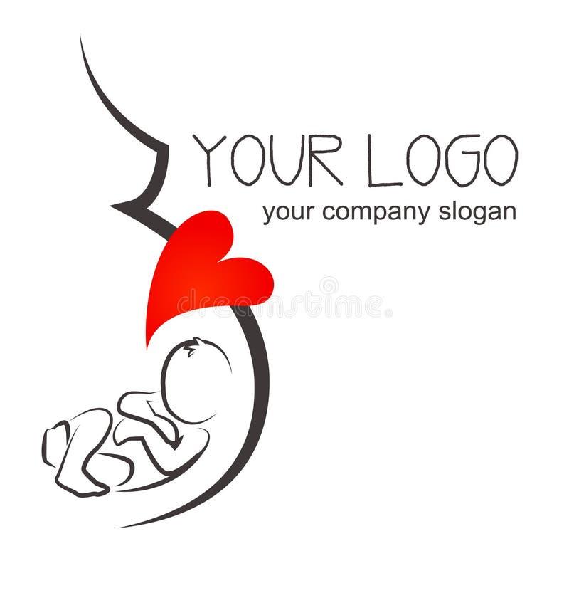 Ejemplo de la mujer embarazada de la silueta diseño del cartel y del logotipo stock de ilustración