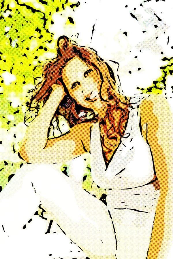 Ejemplo de la mujer en una actitud del estilo de la belleza fotografía de archivo