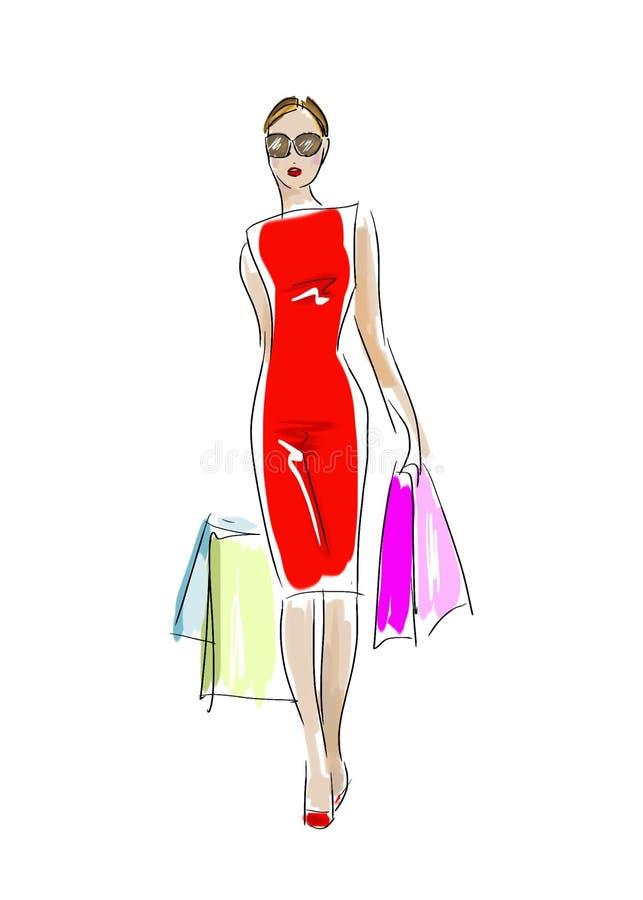 Ejemplo de la mujer hermosa en un vestido rojo con los panieres stock de ilustración