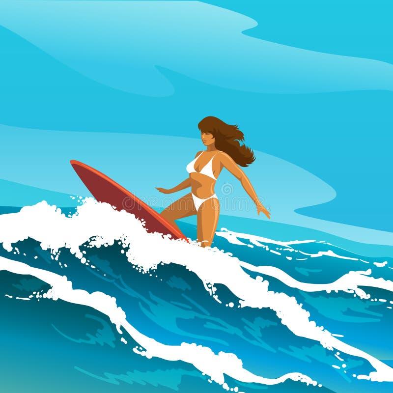 Ejemplo de la mujer que practica surf ilustración del vector