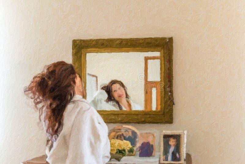 Ejemplo de la mujer que toca el pelo en espejo fotos de archivo libres de regalías