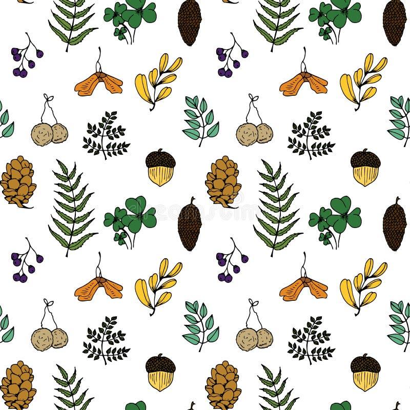 Ejemplo de la naturaleza Materiales naturales Postal del bosque Frutas del bosque, hojas, ramas Modelo inconsútil libre illustration