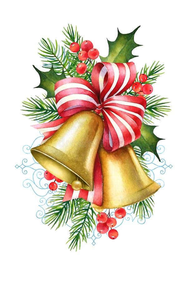 Ejemplo de la Navidad de la acuarela de campanas con la cinta roja, pino fotos de archivo
