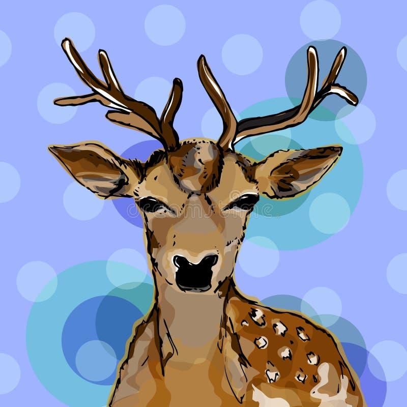 Ejemplo de la Navidad Ciervos hermosos Tarjeta del día de fiesta ilustración del vector