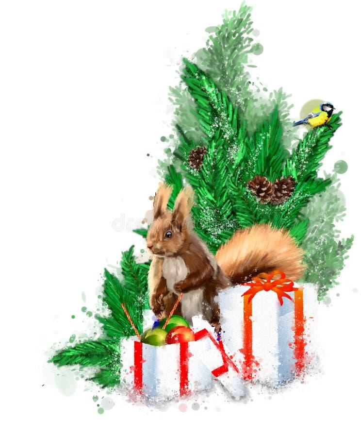 Ejemplo de la Navidad con el abeto, los regalos y la ardilla libre illustration