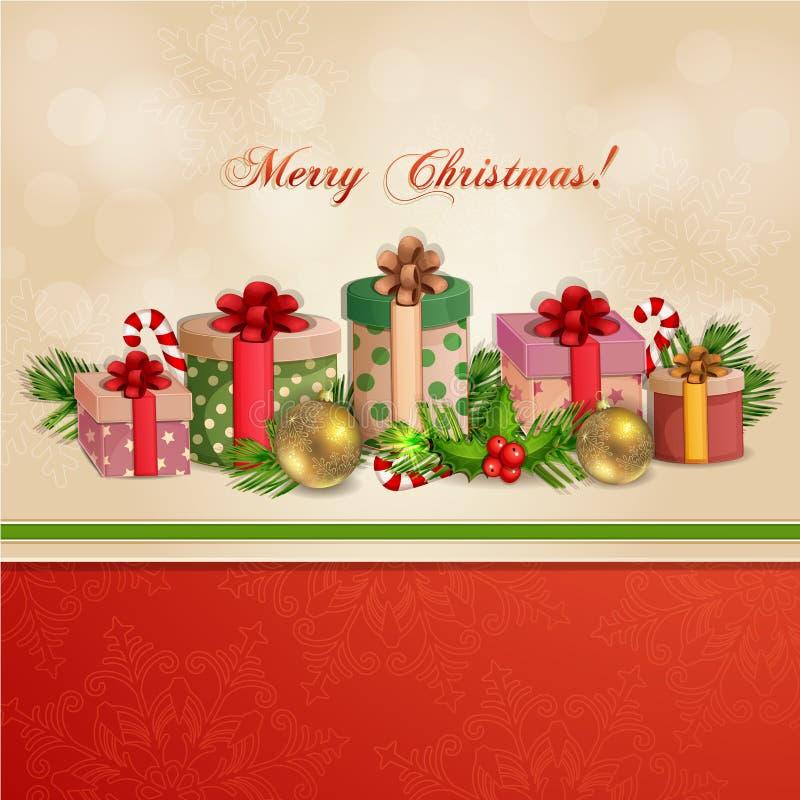 Ejemplo de la Navidad con las cajas de regalo. ilustración del vector